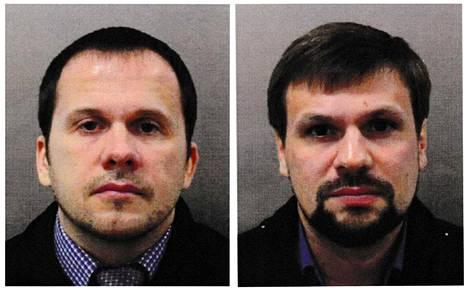 Vasemmalla kuvassa Aleksandr Petrov, oikealla Ruslan Boshirov. Miesten uskotaan esiintyneen väärillä nimillä Britanniaan tullessaan.