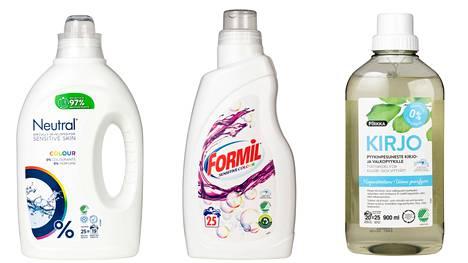 Keskellä testivoittaja, Formil-merkin Sensitive colour. Toiseksi testissä tuli Pirkan Kirjo Pyykinpesuneste kirjo- ja valkopyykille. Kolmanneksi eniten pisteitä sai Neutral-merkin Colour-kirjopesuaine.