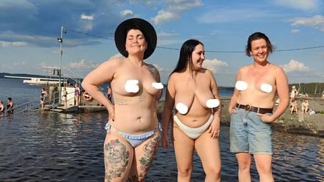 Säde Vallaren, Rosina Salovaara ja Meri-Maija Näykki viettivät kesäpäivää Rauhaniemen kansankylpylän rannalla viikonloppuna. He julkaisivat Instagram-tilillään kuvan, jossa nännit on sensuroitu alustan sääntöjen mukaisesti.