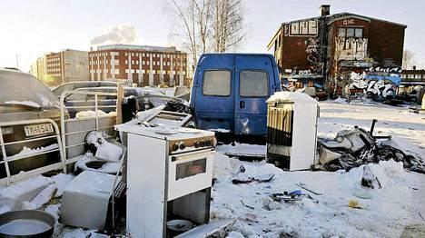 Arkistokuva: Romanileiri tyhjänä Helsingin Kalasatamassa.