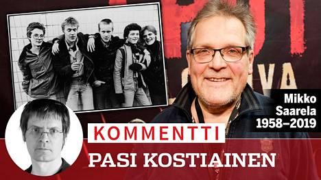 Mikko Saarela oli yksi Eppu Normaalin alkuperäisjäsenistä. Kuva oikealla: Mikko Saarela joulukuussa 2016 Eput-elokuvan ensi-illassa Espoon Metro Areenalla.