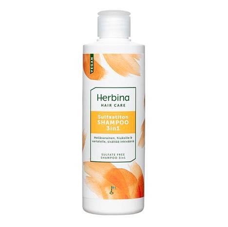Kotimaisen Herbinan hiusten- ja ihonhoitotuotteita valmistetaan Itä-Suomessa Heinävedellä. Sulfaatiton shampoo, 3,50 €.