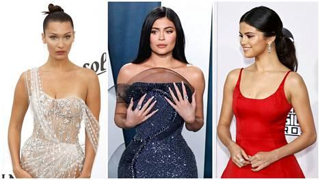 Bella Hadid ja Kylie Jenner nitistävät näpyt iholtaan parinkympin ihonhoitotuotteella. Selena Gomez puolestaan luottaa muutaman euron huulirasvaan.