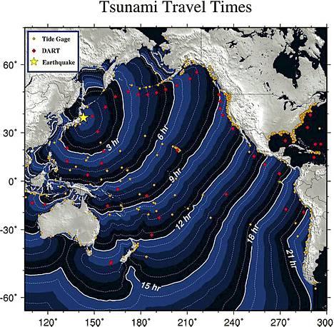 Grafiikkaa tsunamin etenemisestä.