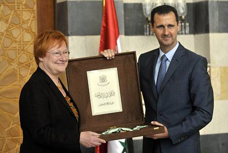 Presidentti Tarja Halonen tapasi Syyrian presidentin Bashar al-Assadin lokakuussa 2009.