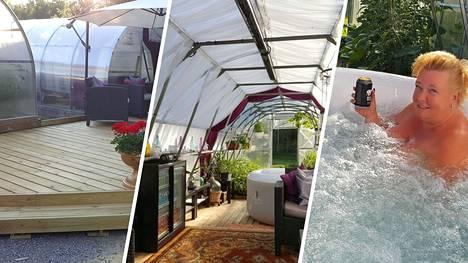 Hinnerjoella asuva Jaana on loihtinut kasvihuoneesta todellisen kesäkeitaan. Sinne voi paeta kylmiä kesäpäiviä.
