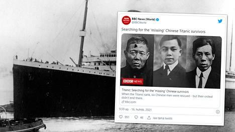 Titanic upposi neitsytmatkallaan huhtikuussa 1912 Pohjois-Atlantilla.