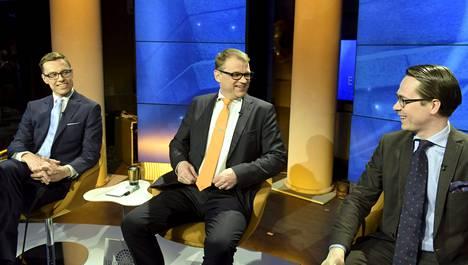 Alexander Stubb, Juha Sipilä ja Carl Haglund Ylen vaalitentissä.