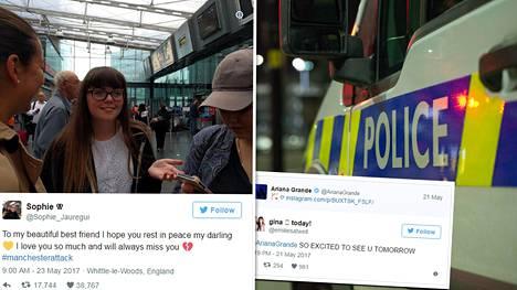 Georgina Callander julkaisi Twitterissä ennen Manchesterin iskua (oikeanpuoleinen twiitti), kuinka innoissaan odotti tulevaa Ariana Granden konserttia.