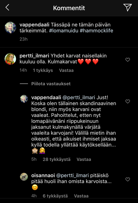 Vappu Pimiä sivalsi arvostelijaansa Instagramissa.