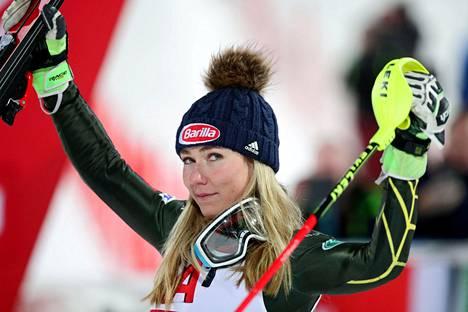 Mikaela Shiffrin kuvattuna Itävallassa viime tammikuussa.