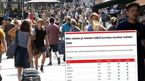 Tuoreen Tilastokeskuksen ennusteen mukaan naisten määrä vähenisi 84 prosentissa Suomen kunnista.