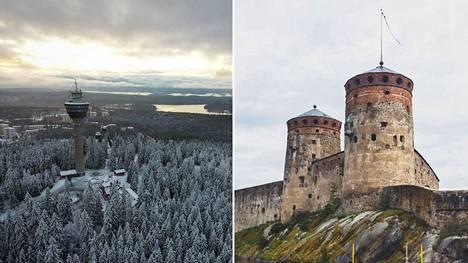 Pohjois- ja Etelä-Savon todennäköisesti tunnetuimmat nähtävyydet: Puijon torni Kuopiossa ja Olavinlinna Savonlinnassa.