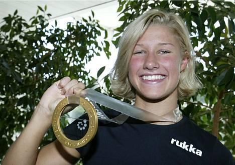 Hanna-Maria Seppälä on ensimmäinen suomalaisnainen, joka on voittanut uinnin maailmanmestaruuden. Hän voitti vuoden 2003 Barcelonan pitkän radan MM-kisoissa 100 metrin vapaauinnin mestaruuden. Kuva Uimaliiton mitalikahveilta.