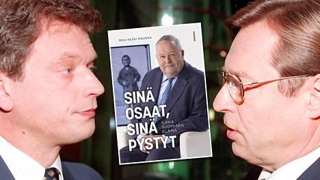Ilkka Suominen muisteli elämäkerrassaan, että ei halunnut Pertti Salolaisesta (oikealla) seuraajaansa, ja kuinka Sauli Niinistö oli puheenjohtajana omapäinen ja ei edeltäjänsä näkemyksiä juuri kaipaillut.