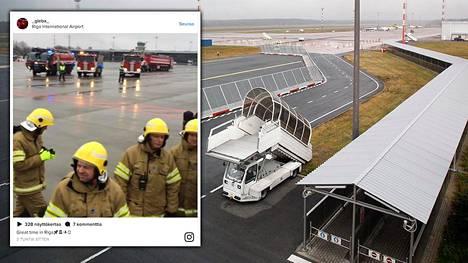 KHL-joukkuetta kuljettanut kone joutui vaaratilanteeseen Riian lentoasemalla. Oikeanpuoleinen kuva lentoasemalta on vuodelta 2010.