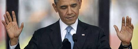 Barack Obama puhui muistotilaisuudessa.