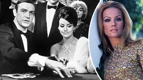 Claudine Auger ja Sean Connery vuoden 1965 Bond-elokuvassa Thunderball. Oikealla Auger vuonna 1968.
