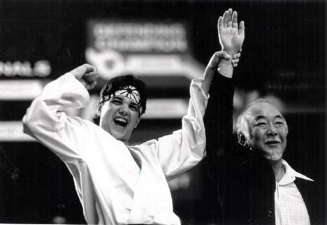 Ralph Macchio ja Pat Morita elokuvassa Karate Kid.