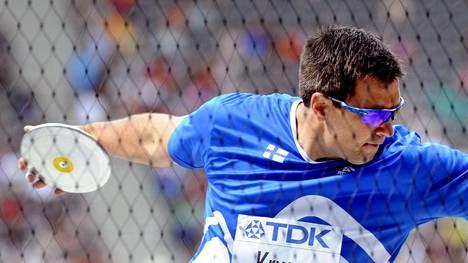 Frantz Kruger voitti Kalevan kisojen kiekkokarsinnan. Kuva vuodelta 2009, jolloin Kruger edusti Suomea Berliinin MM-kisoissa. Hän oli tuossa kisassa 12:s.