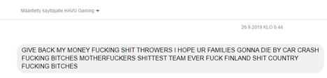 HAVU saa erityisesti viestejä hävityn ottelun jälkeen. Tässä viestissä kirjoittaja oli ilmeisesti lyönyt vetoa HAVUn voiton puolesta.