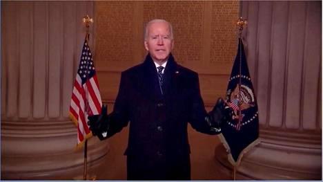 Joe Biden piti juhlallisen puheen Lincolnin muistomerkillä.