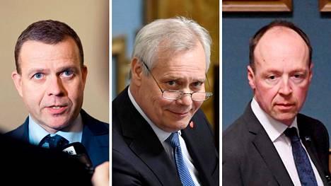 Puolesta ja vastaan. Puolueiden puheenjohtajat ovat eri mieltä siitä, onko EU:n valtava 750 miljardin euron tukipaketti Suomelle hyvä vai huono asia. Kuvassa vasemmalta Petteri Orpo (kok), Antti Rinne (sd) ja Jussi Halla-aho (ps).