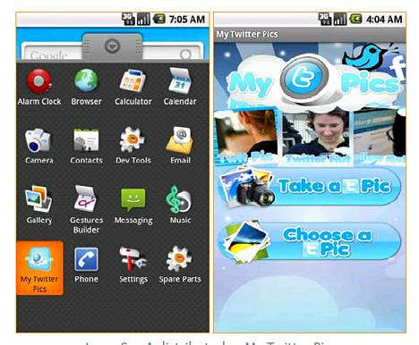 Haittaohjelmat ovat ongelma Android-käyttöjärjestelmässä. Kuvassa My Twitter Pics -niminen haitake.