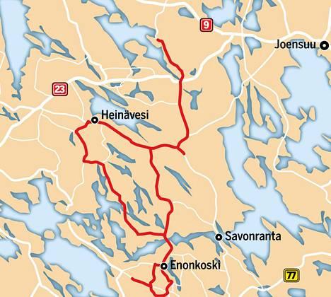 Sallisen kauppa-auton reitti yltää Etelä-Savossa Enonkoskelle, Heinävesihän onkin ollut vuoden alusta osa Pohjois-Karjalaa.