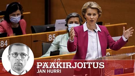Euroopan komission puheenjohtaja Ursula von der Leyen esitteli elpymispakettia Brysselissä keskiviikkona.