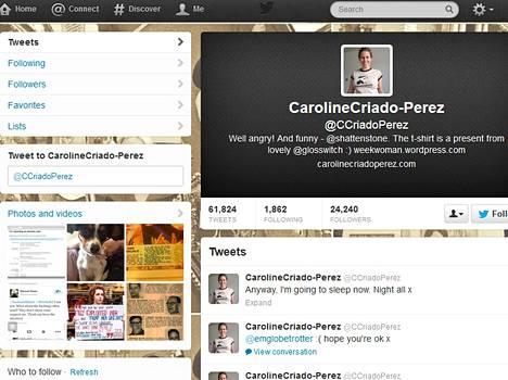 Caroline Criado-Perezin Twitter-sivu.