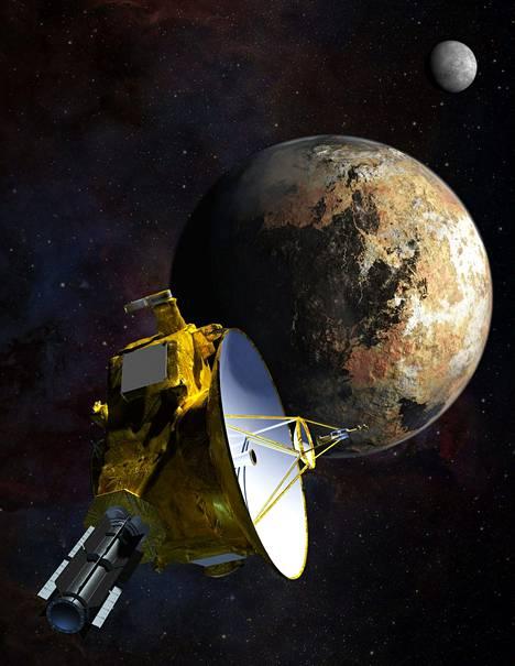 Taiteilijan näkemys New Horizons -luotaimesta ohittamassa Plutoa ja sen kolmea kuuta