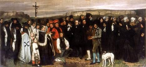 Hautajaisia Ornansissa kuvannut teos hätkähdytti aikoinaan realismillaan.