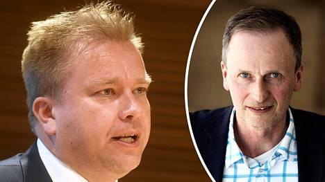 Antti Kaikkoselle (vasemmalla) parempi ministerin salkku olisi puolustusministerin salkku, arvioi rikosoikeuden professori Kimmo Nuotio.