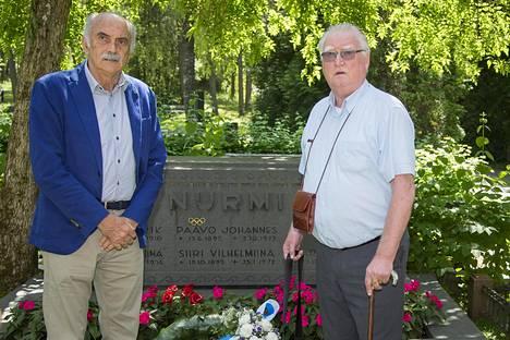 Francesco Arese ja Pekka Vasala kävivät keskiviikkona Paavo Nurmen haudalla.