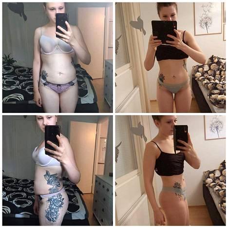 Viime vuonna Anniina päätti hyvästellä viimeiset raskauskilonsa. Kuvien painoissa noin kolmen kilon ero.
