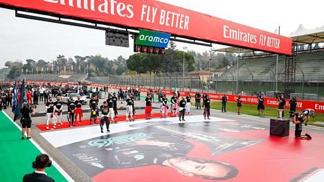 F1-osakilpailut keräävät valtavan mediahuomion. Kuva marraskuun alussa Imolan radalla järjestetystä tapahtumasta.
