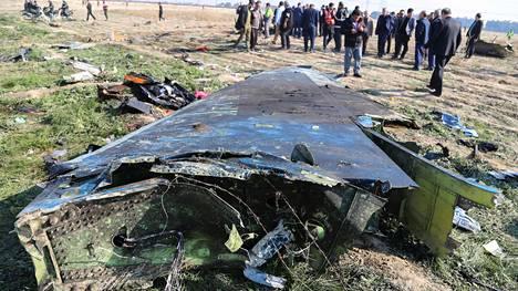Onnettomuuspaikka Iranissa tammikuussa.
