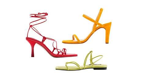 Punaisissa sandaaleissa on muodikas tylppä kärki, 49,95 €, Zara. Limenvihreä tekee paluun, 19,99 €, Mango. Unisan mokkasandaalit ovat sirot mutta tukevat, 99,90 €.