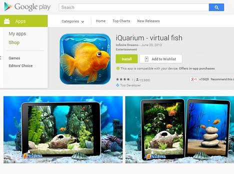 Google Playssä on tarjolla muun muassa tämä virtuaalikala, jonka ruokahalusta ei ole tietoa.