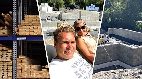 Tino ja Kaisa Nurmi nauttivat hellepäivästä rakennustyömaallaan.