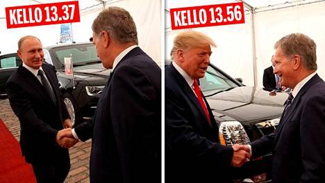 Kun Vladimir Putin saapui Presidentinlinnaan heinäkuussa 2018, hän tuli paikalle myöhässä vasta kello 13.37. Donald Trump odotti häntä Kalastajatorpalla ja saapui sen jälkeen puolestaan Linnaan vasta kello 13.56.