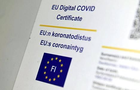 EU:n koronatodistuksessa on mukana qr-koodi, jollaista ei muussa terveydenhuollon tuottamassa todistuksessa ole.