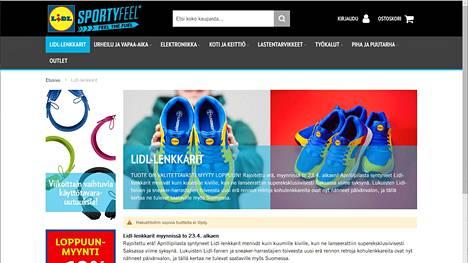 Lidlin verkkokaupassa myytiin muun muassa Lidl-lenkkareita. Ne myytiin loppuun myös verkkokaupassa. Kuvakaappaus sportyfeel.fi-kaupasta.