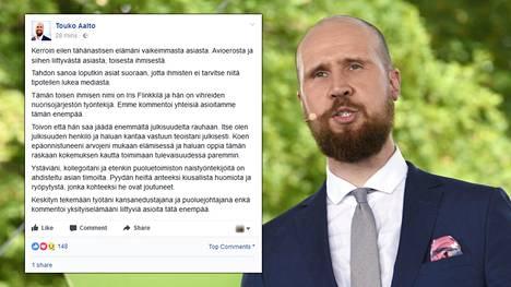 Vihreiden puheenjohtaja Touko Aalto eroaa vaimostaan toisen naisen vuoksi.