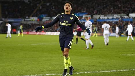 Alexis Sanchez edustaa Valioliigan Arsenalia.