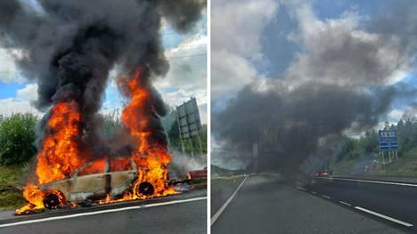 Auto tuhoutui tulipalossa Orimattilassa.