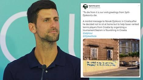 Koronatartunnan saanut Novak Djokovic kohun keskellä. Erityisen kovaa arvostelu on Kroatiassa, jossa se on mennyt jo yli hyvän maun rajojen.