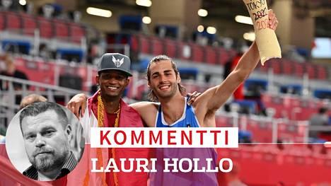 Italian Gianmarco Tamberi (oik.) ja Qatarin Mutaz Essa Barshim jakoivat olympiakullan ilomielin.