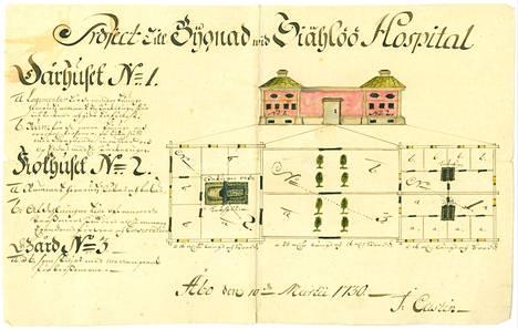 Seilin sairaalan suunnittelupiirrustuksia on säilynyt 1700-luvulta.